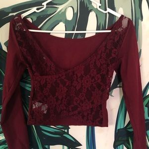 AEO Lace Back Crop Top XS